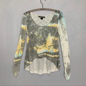 Love Stitch watercolor print soft knit sweater